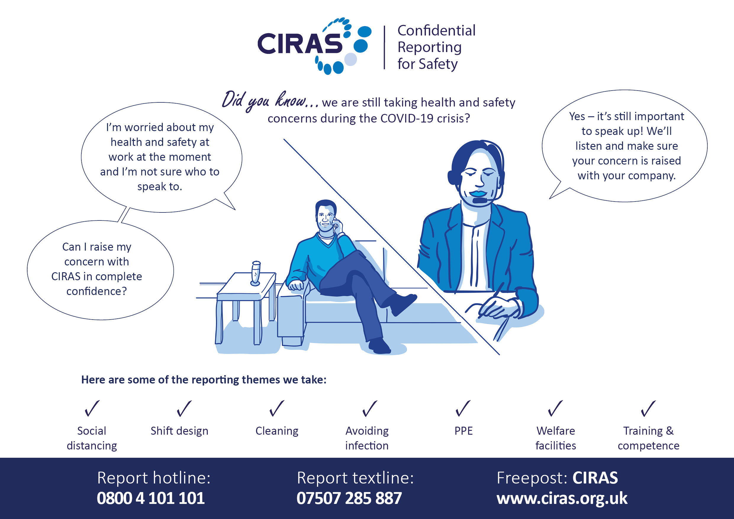 CIRAS poster showing reporting themes of social distancing, shift design, cleaning, avoiding infection, PPE, welfare facilities and training and competence.